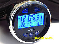 Автомобильные часы термометр вольтметр VST 7042V ВАЗ 2106, фото 1