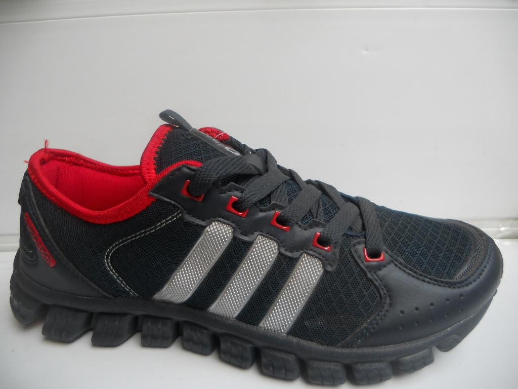 Мужские кроссовки беговые серые с красным сетка летние 7 км 1489|01139