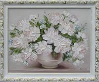 Картины художников. Живопись маслом цветы «Белые пионы». Декорирование дома.