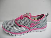Женские кроссовки летние Demax прогулочные серые розовые для бега сетка недорого 7 км 1489|01163