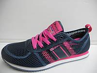 Стильные женские кроссовки летние Demax прогулочные темно синие для бега сетка недорого 7 км 1489|01165