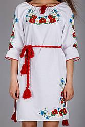 Жіноча вишита сукня на білому льоні виконано гладдю