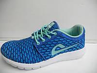 Легкие женские кроссовки летние Demax прогулочные синие для бега сетка недорого 7 км 1489|01167