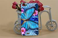 Чехол бампер для Explay Rio Гибкий пластик бабочка
