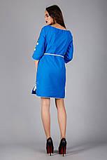 Женское вышитое платье синего цвета с цветочным узором, фото 3