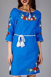 Жіноча вишита сукня синього кольору з візерунком