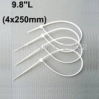 Нейлоновые стяжки 4.6х250mm белые (100 шт) высокое качество. диапазон рабочих температур: от -45С до +80С