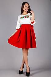 Жіноча вишита сукня сонце-кльош з червоною спідницею