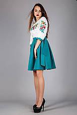 Жіноча вишита сукня сонце-кльош з зеленої спідницею, фото 2