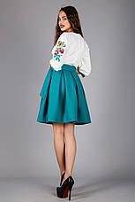 Жіноча вишита сукня сонце-кльош з зеленої спідницею, фото 3
