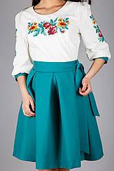 Жіноча вишита сукня сонце-кльош з зеленої спідницею