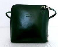 Маленькая женская сумочка. 100% кожаная. Италия. зеленая