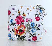 Маленькая женская сумочка. 100% кожаная. Италия. Белая с цветами, фото 1