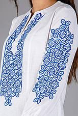 Жіноча туніка вишита хрестиком з синім орнаментом, фото 2