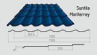 Металлочерепица Сантайл (покрытие полиэстер) Металлическая, Южная Корея, 0.40ММ, Монтеррей, RAL5005 (сигнальный - синий)