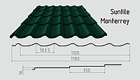 Металлочерепица Сантайл (покрытие полиэстер) Металлическая, Южная Корея, 0.40ММ, Монтеррей, RAL6005 (зеленый мох)