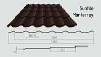 Металлочерепица Сантайл (покрытие полиэстер) Металлическая, Южная Корея, 0.40ММ, Монтеррей, RAL8017 (шоколадно коричневый)