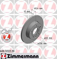 ZIMMERMANN - Тормозной диск задний Skoda Octavia (Шкода Октавия) 1.6 Бензин/этанол 2008 - 2013 (600322220)