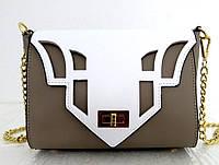 Стильная  женская сумочка 100% кожа Италия Бежевая