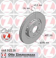 ZIMMERMANN - Тормозной диск передний MITSUBISHI OUTLANDER 2.0 бензин 2006 - 2012 (440312220)