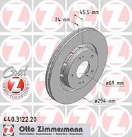 ZIMMERMANN - Тормозной диск передний MITSUBISHI OUTLANDER 2.4 бензин 2006 - 2012 (440312220)
