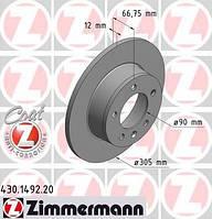 ZIMMERMANN - Тормозной диск задний Opel Movano (Опель Мовано) 1.9 Дизель 2000 - 2001 (430149220)