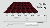 Металлочерепица Сантайл (матовый полиэстер) Металлическая, Южная Корея, 0.45ММ, Монтеррей, RAL3005 (винно-красный)