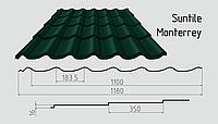 Металлочерепица Сантайл (матовый полиэстер) Металлическая, Южная Корея, 0.45ММ, Монтеррей, RAL6005 (зеленый мох)