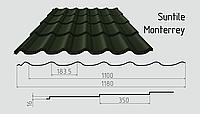 Металлочерепица Сантайл (матовый полиэстер) Металлическая, Южная Корея, 0.45ММ, Монтеррей, RAL6020 (хромовый зеленый)