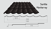 Металлочерепица Сантайл (матовый полиэстер) Металлическая, Южная Корея, 0.45ММ, Монтеррей, RAL8019 (серо-коричневый)
