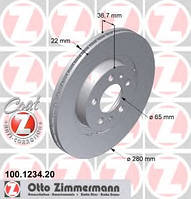 ZIMMERMANN - Тормозной диск передний Volkswagen New Beetle (Фольксваген Нью Битл) 1.9 Дизель 1998 - 2010 (100123420)