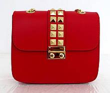Стильная маленькая женская сумочка 100%кожа Италия Красный