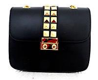 Стильная маленькая женская сумочка 100%кожа Италия  Черный