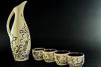Набор керамический, кувшин с рюмками