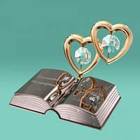"Фигурка статуэтка с камнями Swarovski ""2 сердца и библия"""