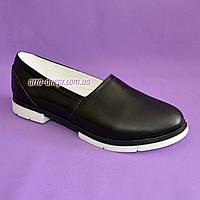 Женские кожаные черные туфли-балетки на утолщенной белой подошве, фото 1