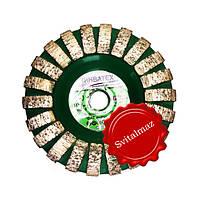 Фреза алмазная торцевая выпуклой формы Ф100 мм. №0 резьба М14 для шлифовки не ровных поверхностей камня.