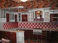 Кухонный фартук с украинским узором. Любой узор.Цветная фотопечать на стекле. Скинали. Замер в Днепре. Монтаж