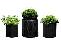 Набор горшков для цветов Keter Cylinder Planter Set (SML) Серый