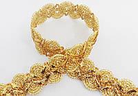 Тесьма отделочная  зиг-заг-елочка  люрекс  золото
