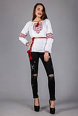Женская вышитая сорочка с красным узором вышитая крестиком, фото 3