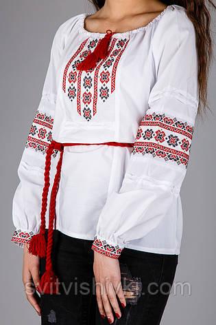 Женская вышитая сорочка с красным узором вышитая крестиком, фото 2