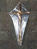 Хрест латунний з квіткою