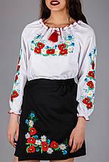 Женская вышиванка с цветочным орнаментом , фото 3