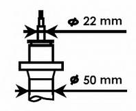 KYB - Амортизатор передний (D 50) Volkswagen Golf (Фольксваген Гольф) 1.6 Бензин/автогаз (LPG) 2009 - 2012 (334834)