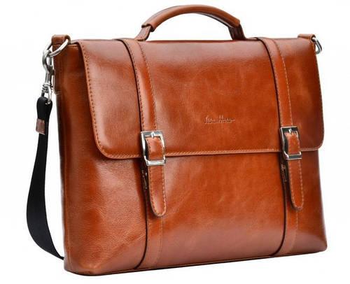 Элегантный мужской кожаный портфель ISSA HARA BH7 (04-00) коричневый