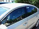 Дефлекторы окон (ветровики) VW Touareg 2010-> 4дв  Хром молдинг
