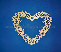 Сердце ажурное (58,5х68см. фанера) заготовка для декора