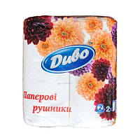 Бумажное полотенце в рулонах 2-х слойные Диво по 2 рулона