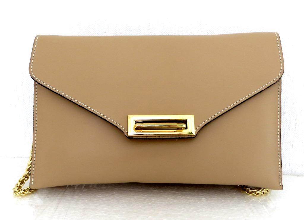 Стильная женская сумочка - клатч. 100% натуральная кожа! Италия Бежевый